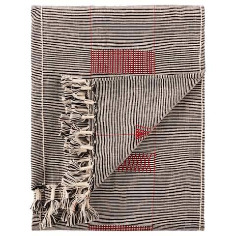 Padia Hand-Loomed Tribal Black/ Red Throw