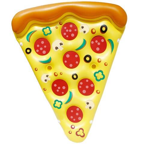 "Sloosh 300 lb. Capacity Yellow, Green & Orange Raft Supreme Pizza Slice Pool Float - 9.5""W x 3.9""L x 11.5""H"