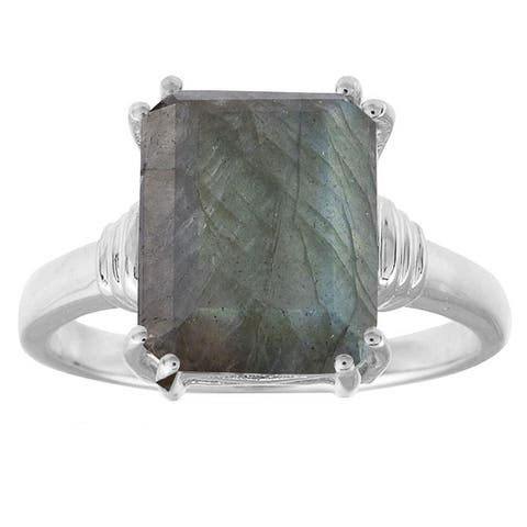Sterling Silver with Natural Labradorite Emerald Cut Solitaire Ring