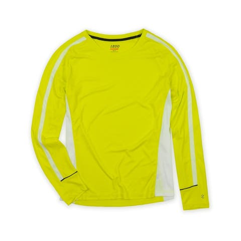 IZOD Womens Performx Solid Fitness Basic T-Shirt, yellow, Large