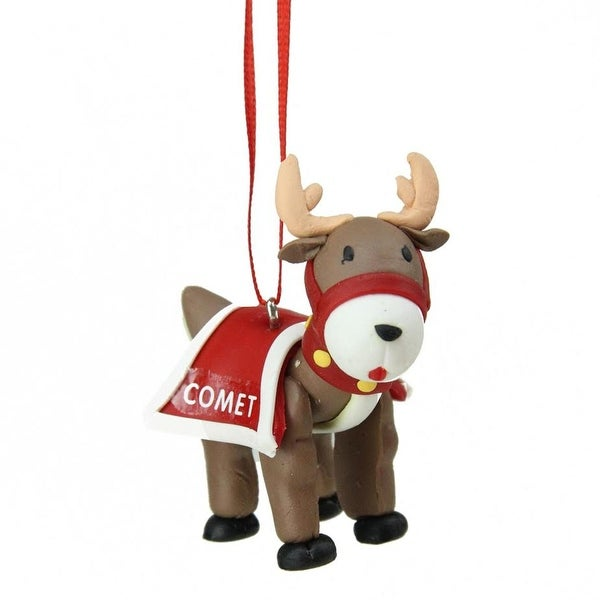 "2.25"" Red Santa's Reindeer ""Comet"" Hanging Christmas Ornament"