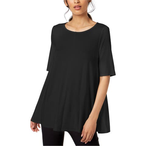 Eileen Fisher Womens Jersey Elbow Sleeve Tunic Blouse