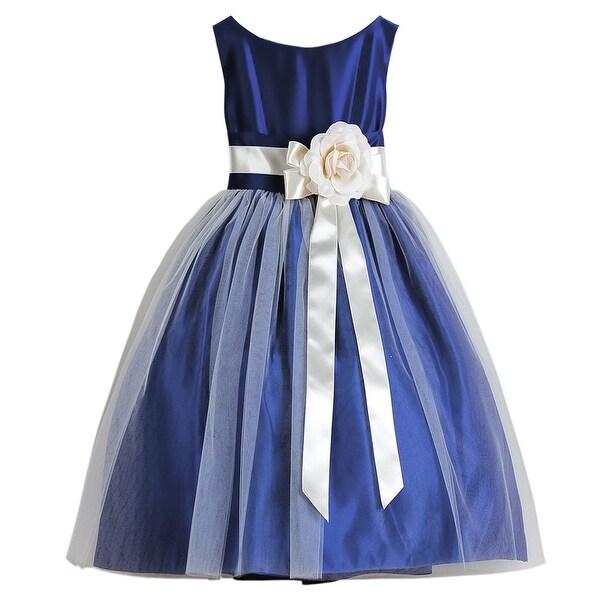 7d6d8c4ce9dc Shop Sweet Kids Little Girls Royal Blue Floral Accent Flower Girl Dress  2T-6 - Free Shipping Today - Overstock - 18164380