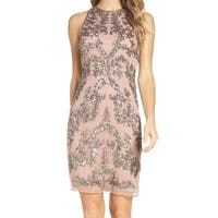 Adrianna Papell Rose Gold Pink Womens 8 Embellished Sheath Dress