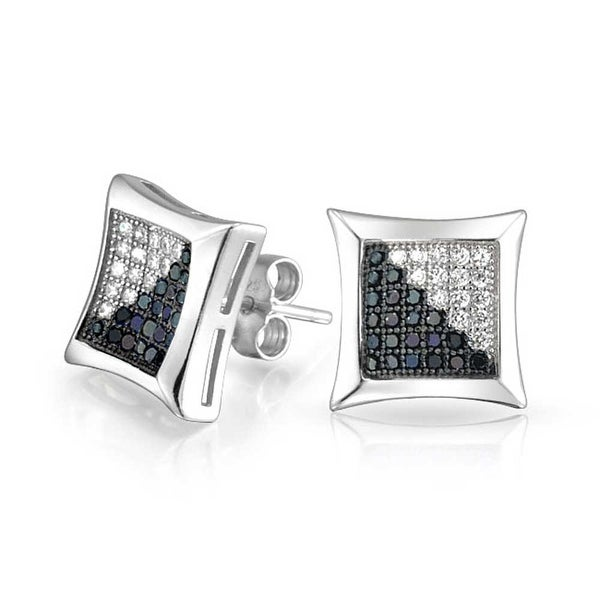 bb54aed6b Shop Black White Square Cubic Zirconia CZ Micro Pave Kite Shaped Stud  Earrings For Men Concave 925 Sterling Silver 10MM - On Sale - Free Shipping  On Orders ...