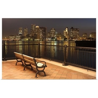 """""""Skyline view of Boston, MA from the park"""" Poster Print"""