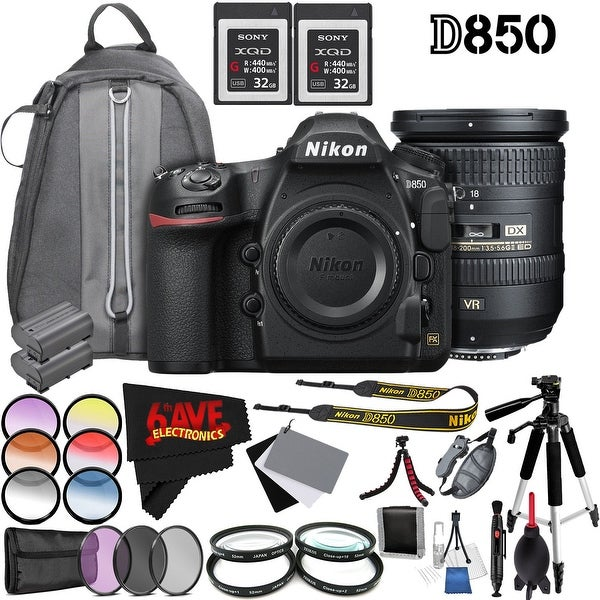 Nikon D850 DSLR Camera (Body Only) 1585 International Model + Nikon AF-S DX NIKKOR 18-200mm f/3.5-5.6G ED VR II Lens 2192 Bundle