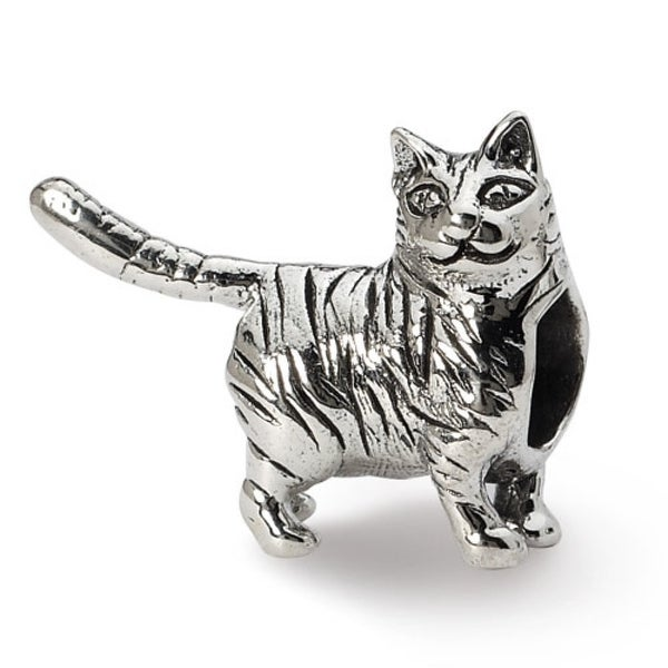 Sterling Silver Reflections American Shorthair Cat Bead (4mm Diameter Hole)