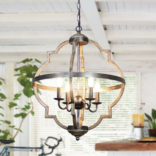 Link to Farmhouse Antique Distressed Wooden 4-Light Chandeliers - N/A Similar Items in Chandeliers