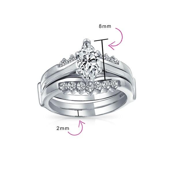 8,9 NEW 2 Ring Set Wedding Band Marquise Cut Silver Platinum Rhodium CZ Sz 5 6