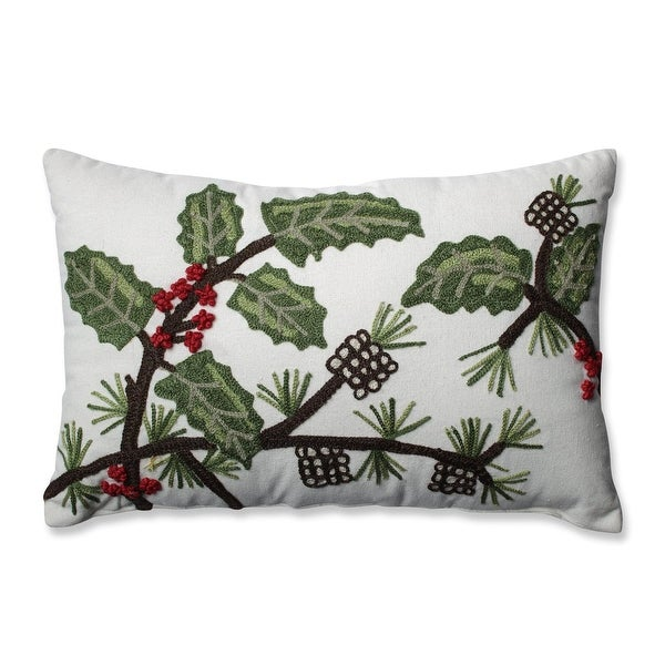 "18.5"" Red, Green and White Holly Leaves, Berries and Pine Rectangular Throw Pillow"