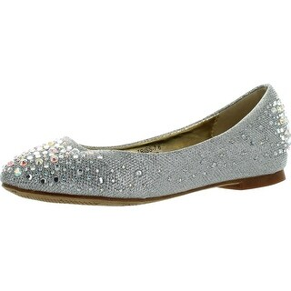 Bella Marie Womens Triss-7 Pointy Toe Rhinestones Low Wedge Ballerina Ballet Shoes