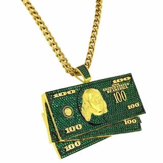 100 Dollar Bills Pendant Green Iced Out Gold Tone Stainless Steel Franco Chain