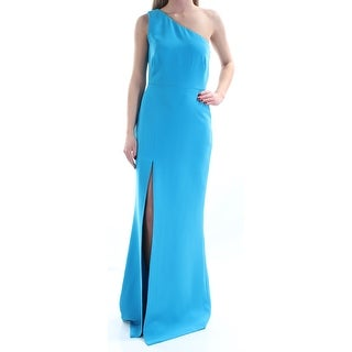 CALVIN KLEIN Womens Blue Slitted Sleeveless Asymetrical Neckline Full Length Sheath Prom Dress Size: 2