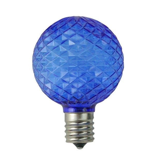 Pack of 25 Faceted LED G50 Blue Christmas Replacement Bulbs