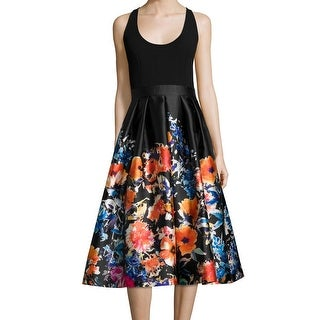 Carmen Marc Valvo NEW Black Women Size 6 Floral Scoop Neck Sheath Dress