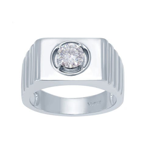 Sterling Silver with Natural Moissanite Solitaire Ring