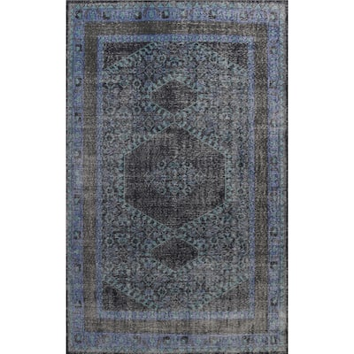 """Geometric Distressed Oriental Oushak Area Rug Hand-knotted Wool Carpet - 8'1"""" x 11'0"""""""