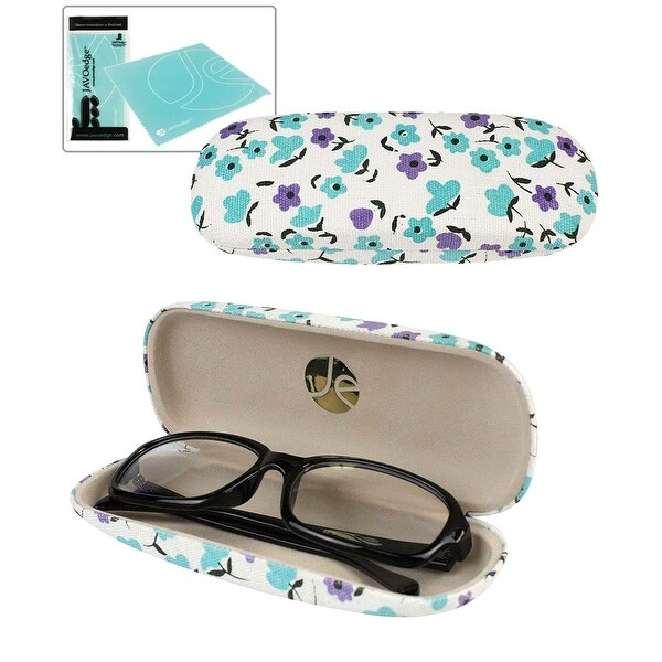 JAVOedge Flower Print Pattern Oval Shaped Hard Glasses / Reading Glasses Case With Bonus Microfiber Cloth