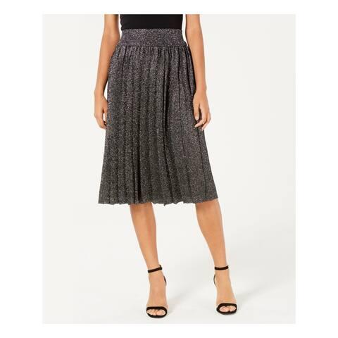 LUCY PARIS Womens Black Pleated Metallic Knee Length Skirt Size: XL