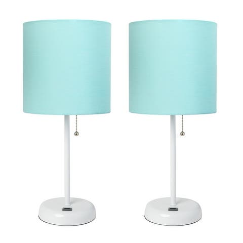 LimeLights Stick Lamp with USB Charging Port and Fabric Shade 2 Pack Set