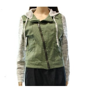 Love Fire NEW Green Size Large L Junior Mixed Media Hooded Jacket