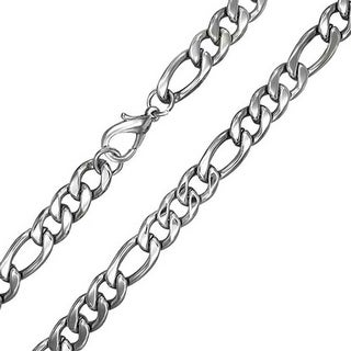 Bling Jewelry Mens 11mm Heavy Figaro Chain Stainless Steel Necklace 3in