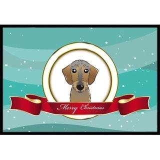 Carolines Treasures BB1543JMAT Wirehaired Dachshund Merry Christmas Indoor & Outdoor Mat 24 x 36 in.