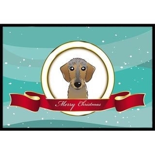 Carolines Treasures BB1543MAT Wirehaired Dachshund Merry Christmas Indoor & Outdoor Mat 18 x 27 in.