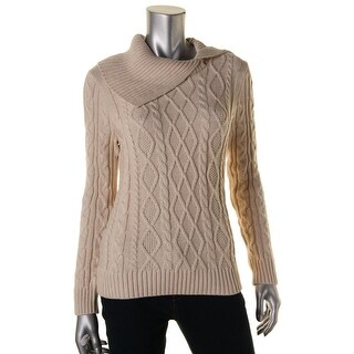 Jeanne Pierre Womens Cable-Knit Asymmetrical Collar Pullover Sweater