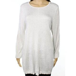 Alfani NEW Silver Womens Size Medium M Metallic Scoop Neck Sweater