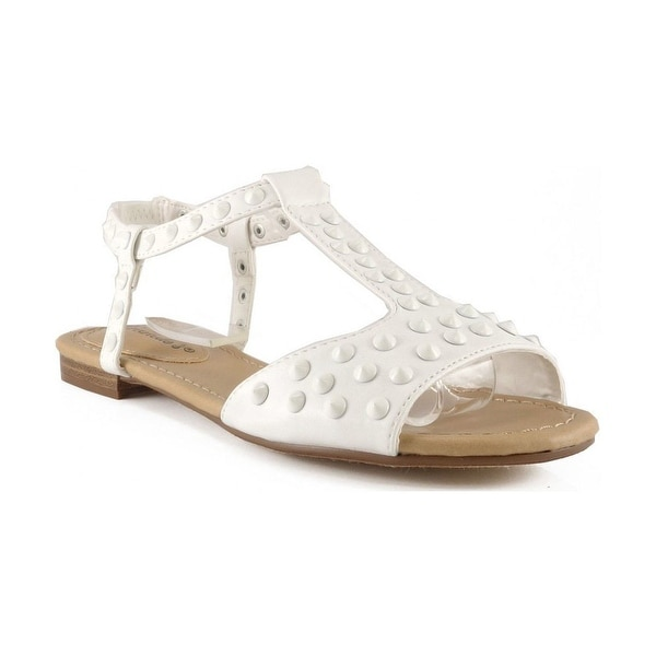 Breckelles Women Ester-16 T-Strap Spike Sandals - White