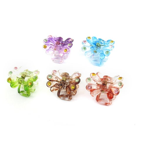 Lady Hairstyle Plastic Spring Loaded Hair Claw Clip Clamp 5pcs Assorted Color