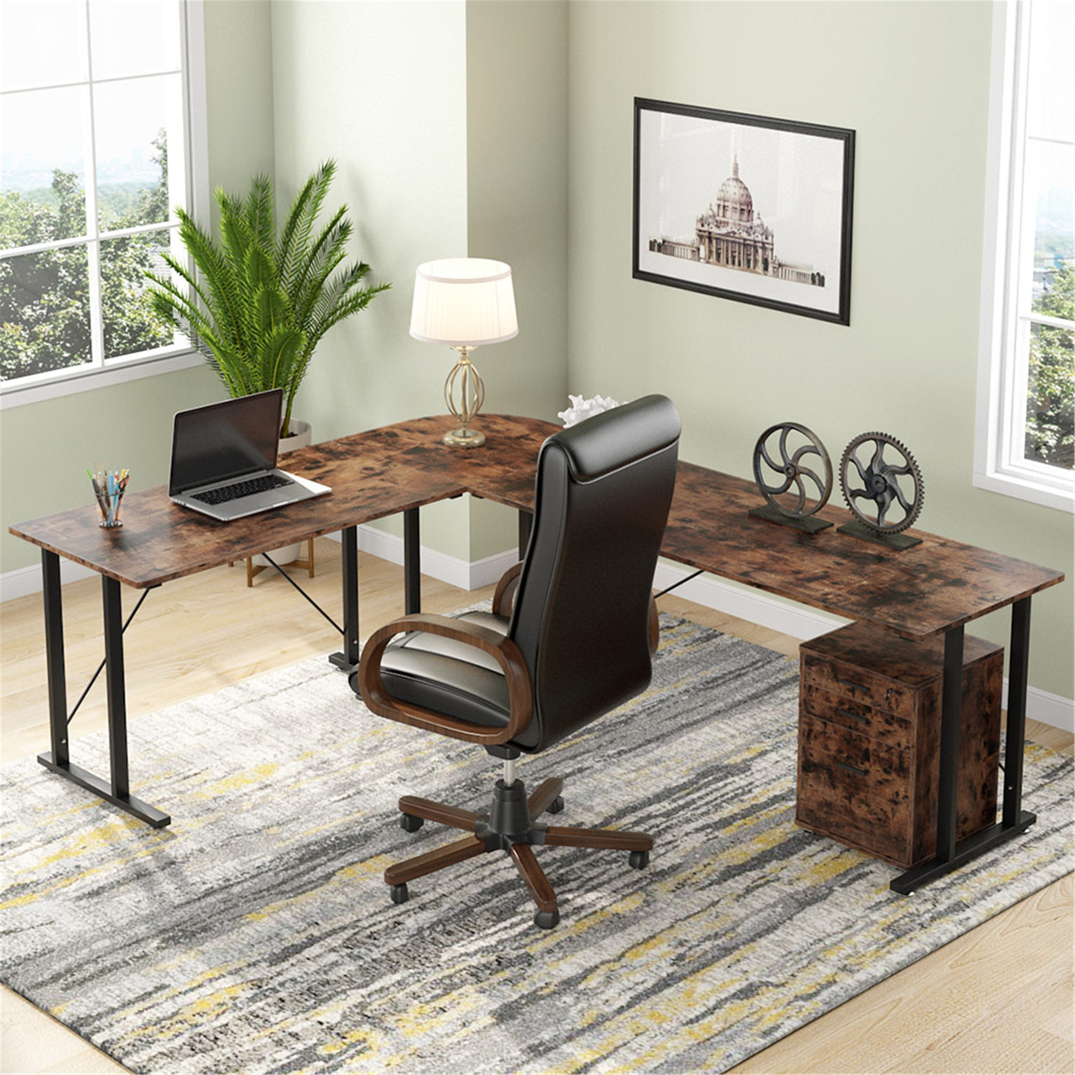 83 Inch Industrial L Shaped Desk With File Cabinet Letter Size Rustic Brown Overstock 31410077