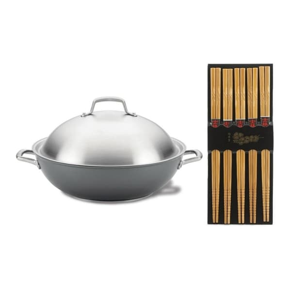 Anolon 81116 Accolade Hard Anodized Stir Fry/Wok Pan with Chopsticks. Opens flyout.
