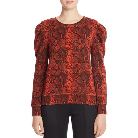 Pam & Gela Womens Petites Sweatshirt Snake Print Crewneck - Lava