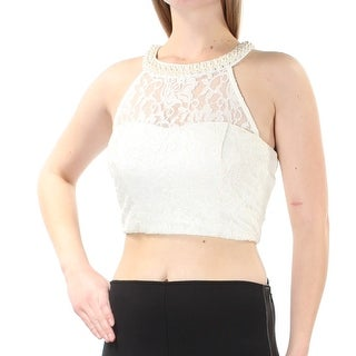 Womens Ivory Sleeveless Halter Formal Crop Top Size 9