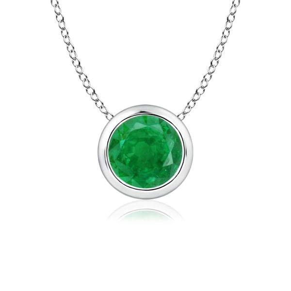 Angara Natural Emerald Bezel-Set Necklace in Yellow Gold SMp88G