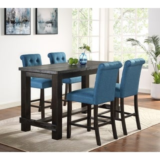 Leviton Antique Black Finished Wood 5-Piece Counter Height Dining Set