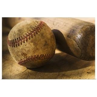 """Antique baseball with baseball bat"" Poster Print"