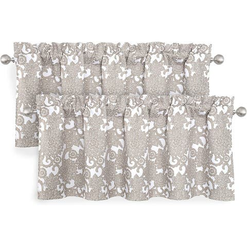 DriftAway Daisy Dahlia Blooming Flower Floral Lined Window Curtain Valance 2 Pack