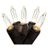 "Set of 50 Clear Mini Christmas Lights 2.5"" Bulb Spacing - Black Wire"