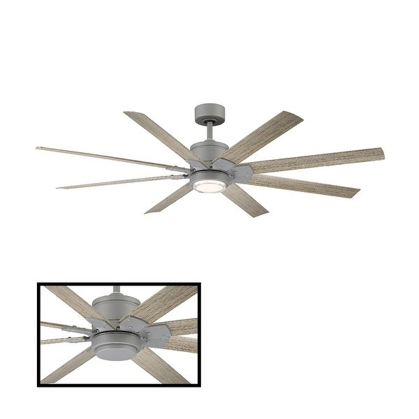Renegade Indoor and Outdoor 8-Blade Smart Ceiling Fan 52in with 3000K LED Light Kit and Remote Control with Wall Cradle. Opens flyout.