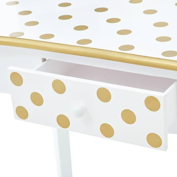 Shop Teamson Kids Fashion Polka Dot Prints Gisele Play Vanity Set With Led Mirror Light White Gold On Sale Overstock 31636664