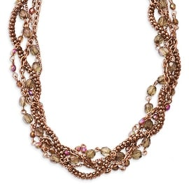 Copper Multicolor Acrylic Beads Twisted Necklace - 16in