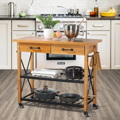 Ledel Kitchen Island Cart With Two Drawers and Locking Wheels