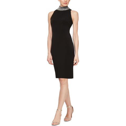 SLNY Womens Cocktail Dress Embellished Sleeveless - Black