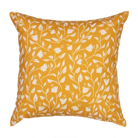 """Arden Selections Home 18"""" Throw Pillow -Woodblock Wrapping Floral"""