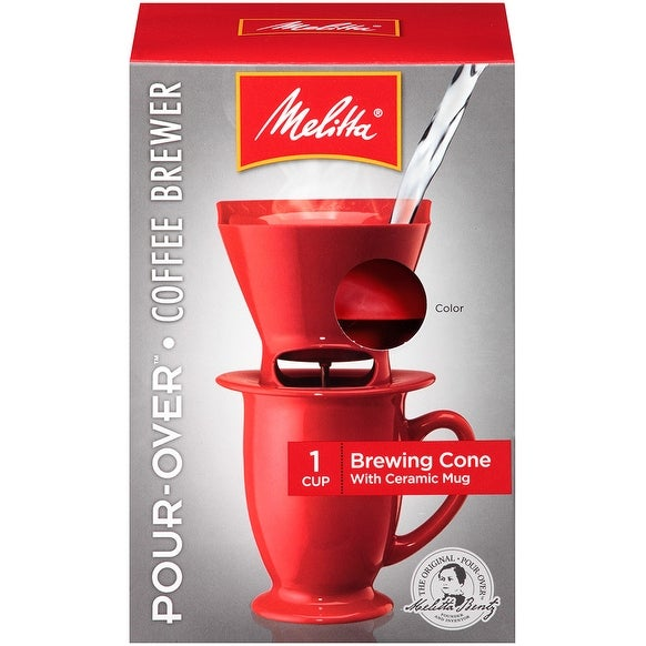 Melitta 1-Cup Pour-Over Coffee Brew Cone & Ceramic Mug Set, Red