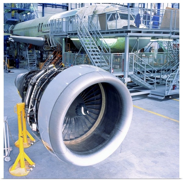 """""""close-up of an aircrafts engine turbine kept in a hanger for assembly"""" Poster Print"""